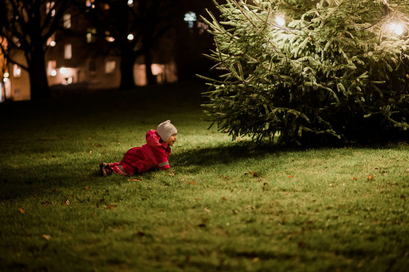 Girl in park at night