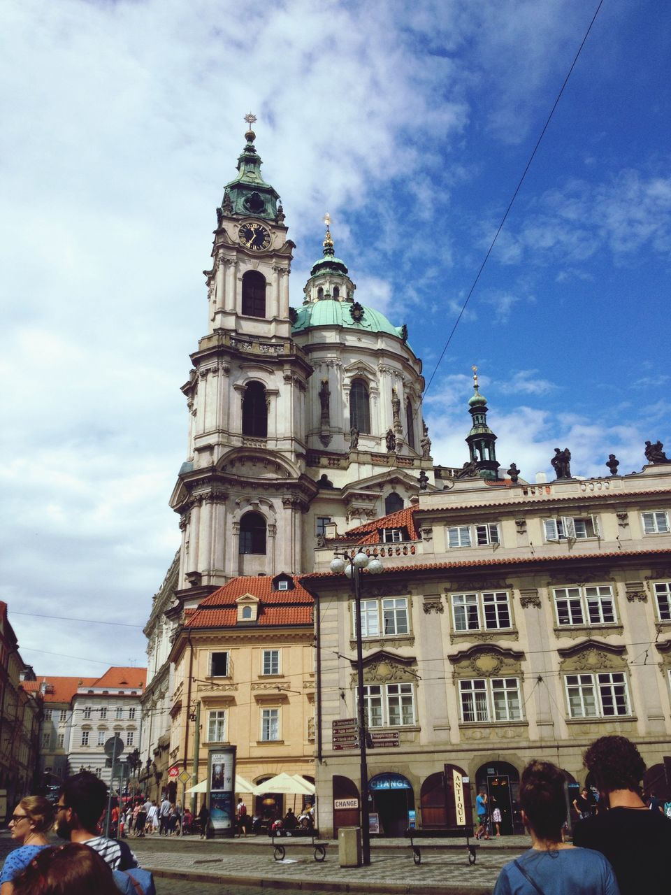 architecture, building exterior, built structure, religion, cloud - sky, sky, place of worship, spirituality, day, outdoors, travel destinations, large group of people, real people, city, baroque style, people