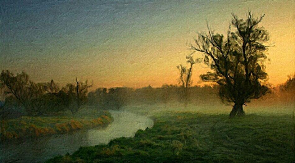 Erstes Morgenrot . Oil on canvas 20 x 40 cm 2014 . Art Painting Nature Landscape Grass Trees Bushes River Fog Sunrise Romantic Dream