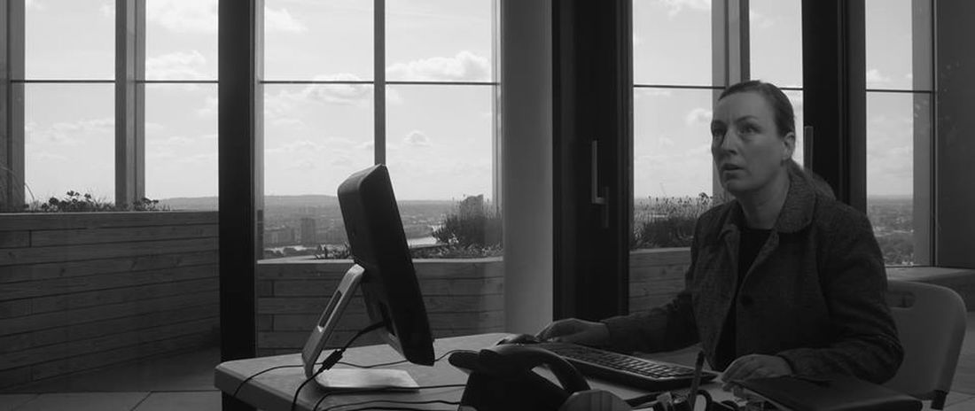 At Work Black And White Black And White Photography Desk Office View Office With View Sitting Surprised Woman Window Woman Woman At Work Woman In Office