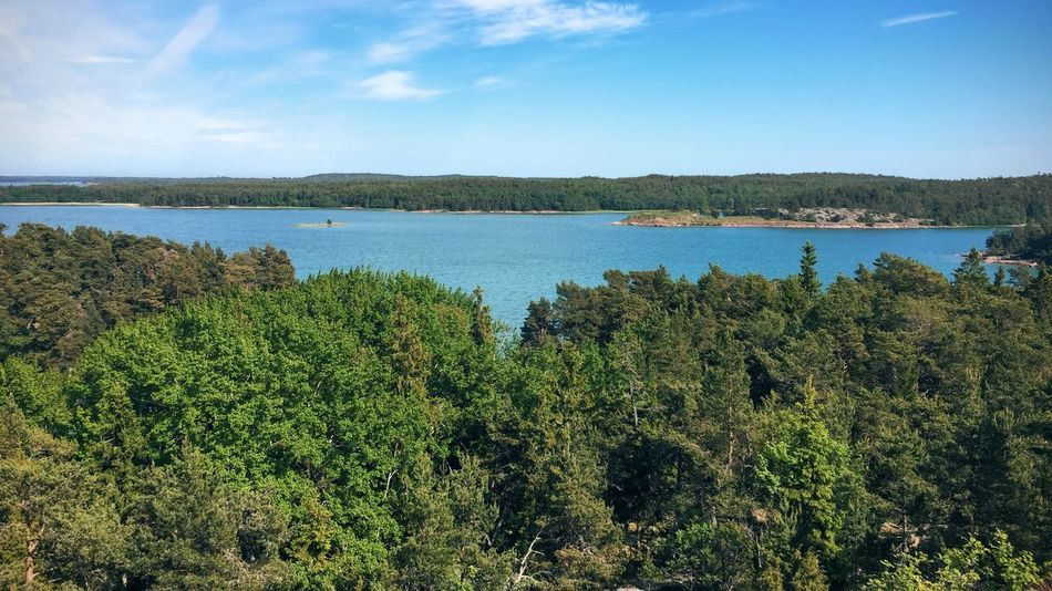 from the top of the hill, the calm sea around Aland Aland Islands Beauty In Nature Day Distant Forest Fotostrasse Lake Lakeshore Lush Foliage Nature No People Outdoors Reflection Relaxing Moments Standing Water Tranquil Scene Tranquility Tree Tropical Climate Visit Ala Voyage Water