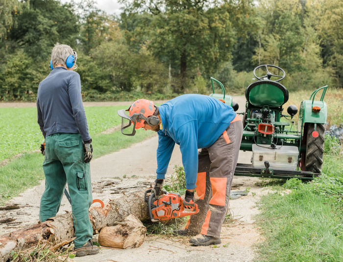 Men cutting log on footpath in forest