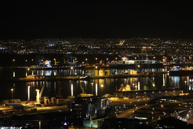Cape Town Cityscape Harbour Harbour At Night I Love Cape Town Nightphotography South Africa Water Reflections
