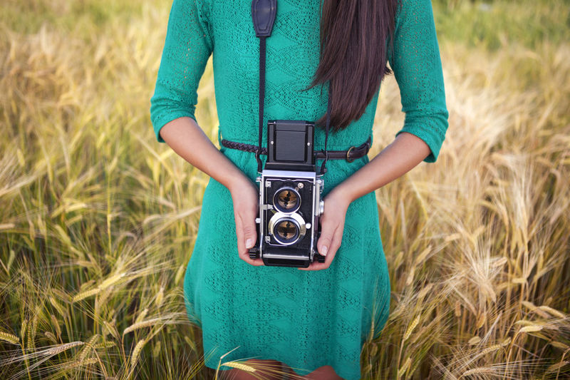 Camera - Photographic Equipment EyeEmNewHere Field Grass Green Dress Long Hair Nature Old-fashioned Outdoors Photographing Photography Themes Retro Styled Young Women