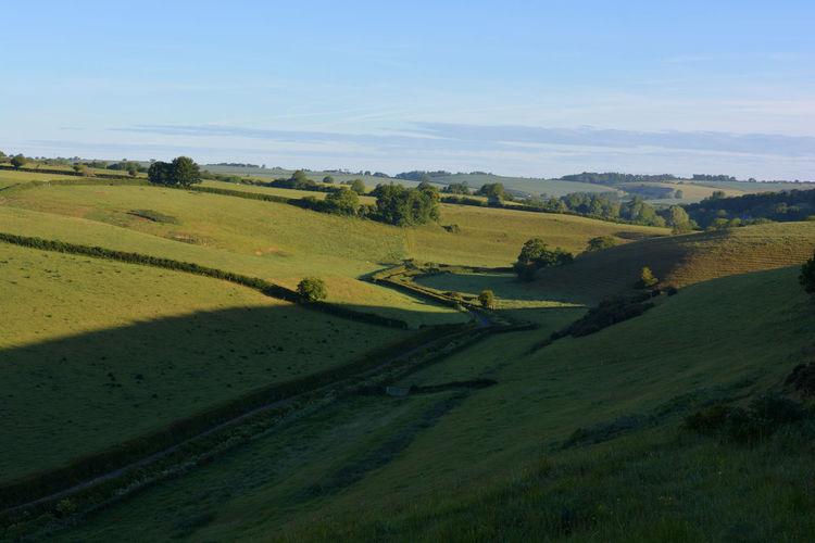 View towards poyntington along valley through green fields, oborne, sherbonre dorset, england.