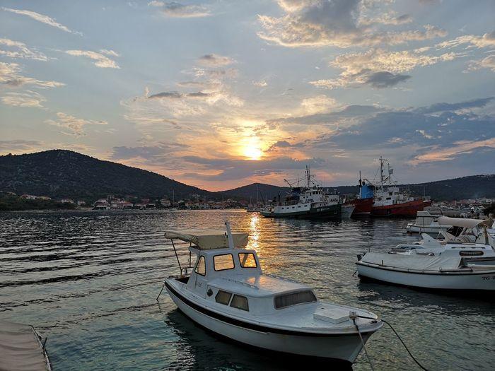 Sunset in Vinisce Huawei P20 Pro Beauty In Nature Sunset Croatia Vinisce City Nautical Vessel Water Harbor Sea Sailing Ship Sunset Beach Moored Yacht Fishing Boat Ship Marina Boat Port Water Vehicle