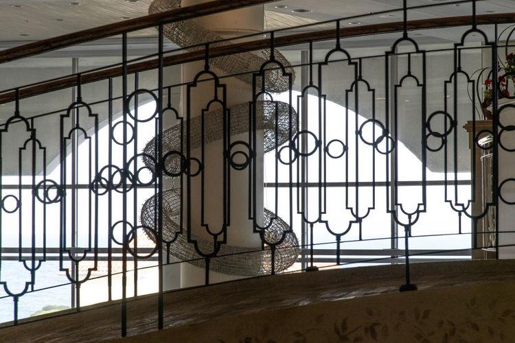 Closed metal guard rail of building