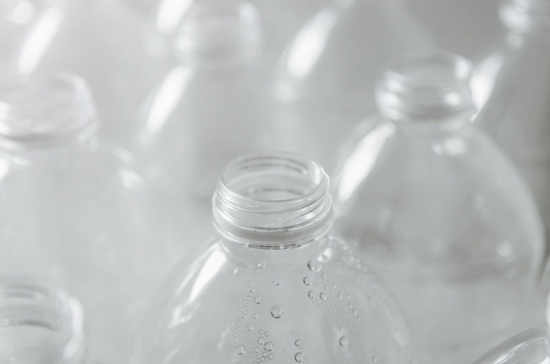 Close-up of water bottle in glass