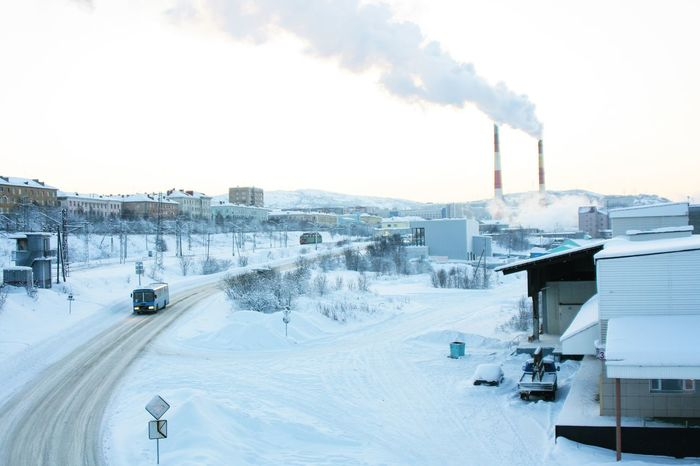 Snow White. Winter Snow Industrial Frost Cityscapes Murmansk Russia