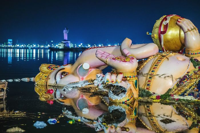 River Water Night People Ganeshfestival Ganesha Chaturthi Ganesha Visarjan Ganeshvisarjan Ganesha Idol Ganesha Idols