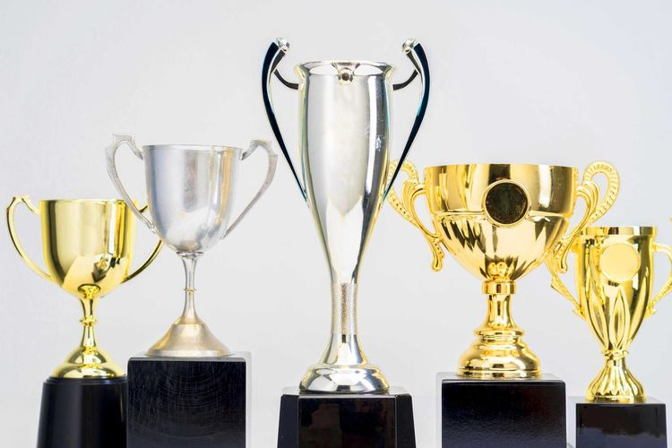 Variety of Trophy Cup on white background AWARD Trophy Success Achievement Winning Studio Shot Indoors  Gold Colored Still Life No People Shiny Competition White Background In A Row Group Of Objects Choice Three Objects Gold Variation Metal Silver Colored