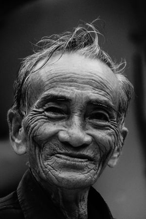 Old friendly Fishermen with a face full of interesting storys Black And White Bw_portraits EyeEm Best Shots Faces Of EyeEm Furrows Old But Awesome Old Man Portrait Smile Experience Taking Photos Enjoying Life B&w Street Photography Showcase: December Everyday Emotion Natural Light Portrait Feel The Journey Original Experiences this friendly man in a little vietnamese village smiled at me heart-warming Fine Art Photography On The Way Monochrome Photography