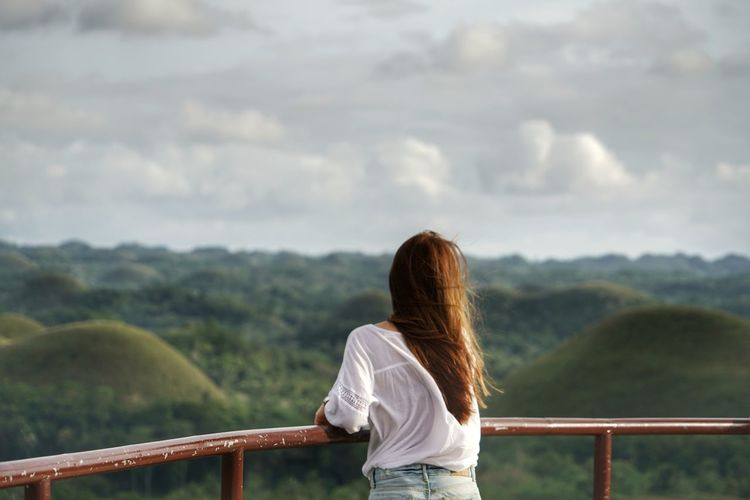 gaze The Great Outdoors - 2018 EyeEm Awards The Traveler - 2018 EyeEm Awards Philippines Photos Bohol Photos Travel Bohol Philippines Bohol Bohol Island Streamzoofamily Light And Shadow Tranquil Scene Bohol Adventure Young Women Women Rural Scene Standing Back Looking At View Rear View Hill Long Hair Scenics Idyllic Non-urban Scene Mountain Range Mountain Tranquility Human Back Hiker Rock Formation