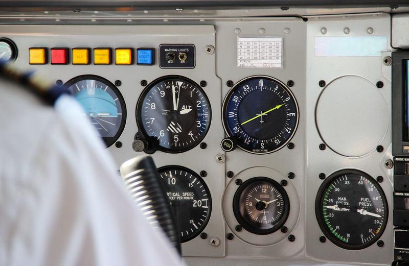 Gauges in cockpit