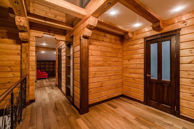 Inside of log cabin Home Log Cabin Modern Wood Apartment Brown Built Structure Ceiling Contemporary Corridor Cottage Floor Home Interior House Illuminated Indoors  Interior Interior Design No People Nobody Parquet Floor Wood - Material Wooden