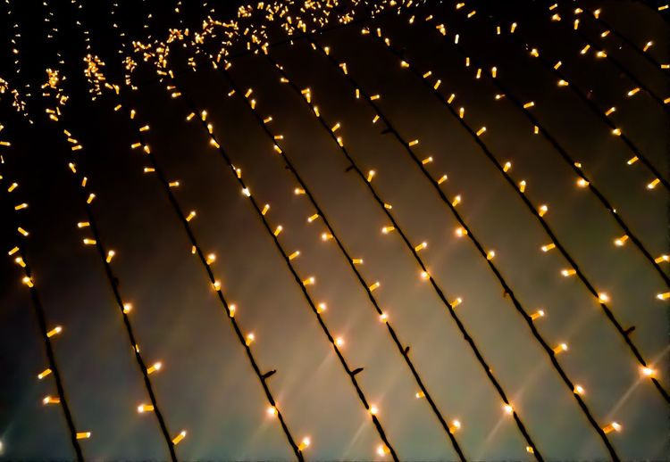 Close-up of illuminated string lights