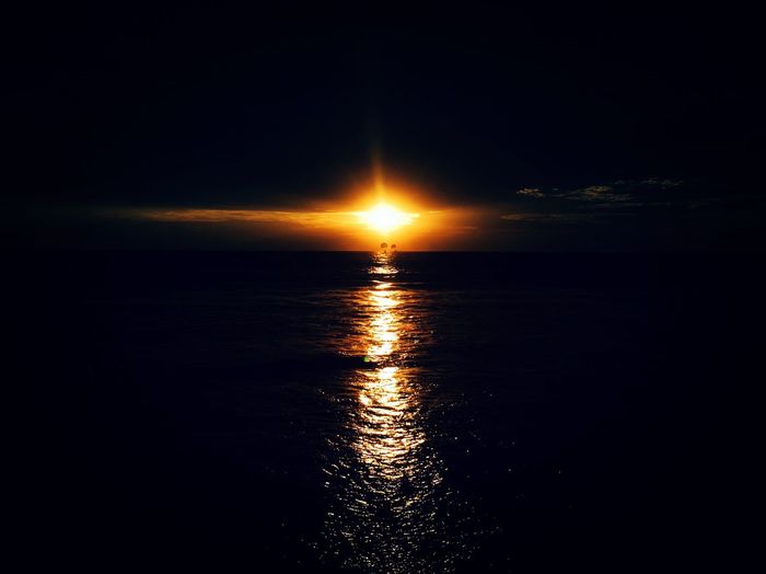 Water Sky Sea Reflection Nature Tranquility Beauty In Nature Sunset Scenics - Nature No People Horizon Horizon Over Water Tranquil Scene Sun Sunlight Outdoors Seascape Cloud - Sky Moonlight