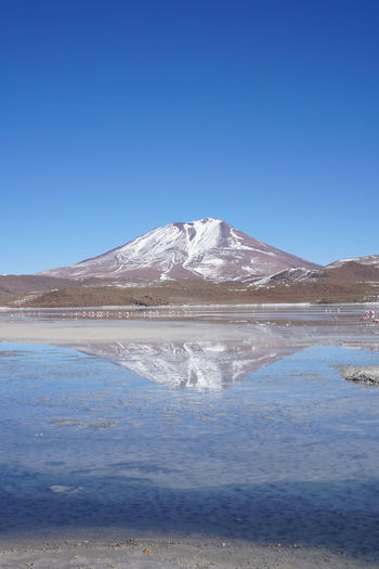 Bolivia Cañapa Lake Mountain View Reflection Blue Sky Flamingos Laguna Charcota Laguna Hedionda Viajeabolivia