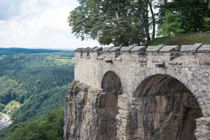 Another item on our holiday checklist ticked off - Königstein Stronghold, an impressive rock formation looking over the Elbe river Festung Königstein Postcard Rock Rock Wall Sky And Clouds Arch Landscape Sandstone Scenics Stronghold