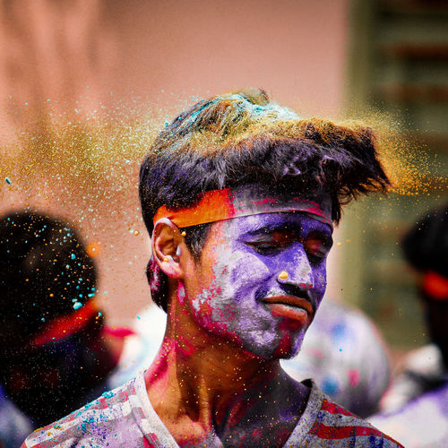 Close-up of man with powder paint