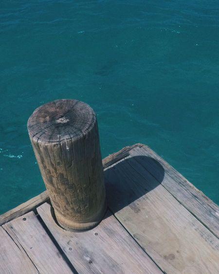 High angle view of pier on lake