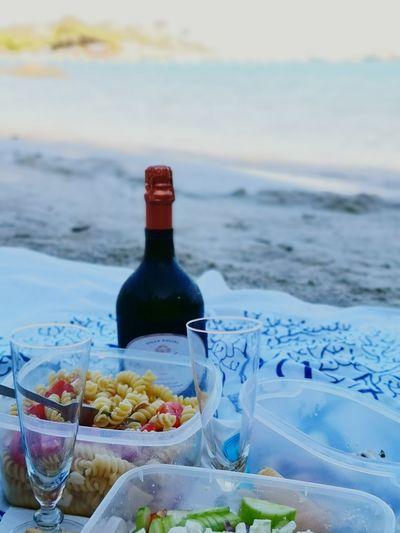 Aperetivo in riva Corsica Holidays Summer Vacanze Mare Mediterranean Sea Light Vine Aperetivo Aperetif Bollicine Prosecco Water Sea Wineglass Alcohol Beach Drink Black Olive Wine Sand Drinking Glass