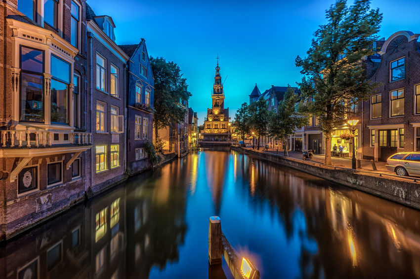Alkmaar Architecture Blue Building Building Exterior Built Structure Canal City City Life Day De Waag Diminishing Perspective Illuminated Nature No People Outdoors Reflection Sky Standing Water The Netherlands Tourism Travel Destinations Tree Water