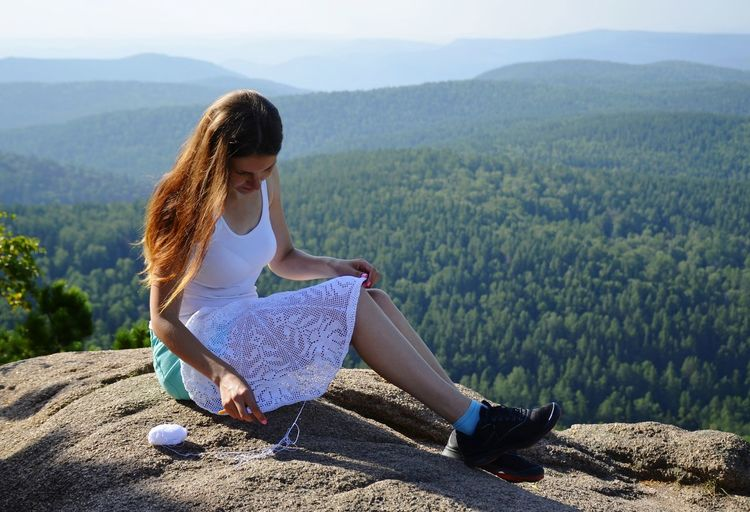 Crochet everywhere. Krasnoyarsk, Stolby Handmade Craft Summer Lace - Textile Crochet Bohostyle Sunny Day Hobby EyeEm Selects Mountain Young Women Tree Women Sitting Beauty Beautiful Woman Beautiful People Full Length Hiker
