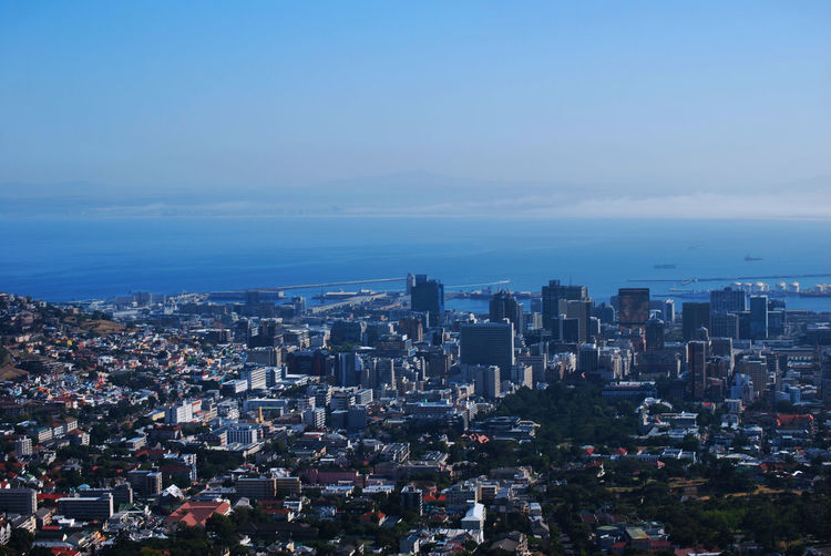 High angle view of buildings by sea against sky cape town