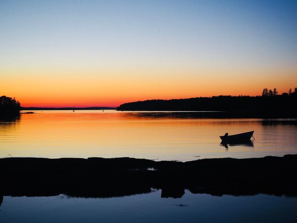 Maine, Deer isle sunset Maine Deer Isle Water Sunset Sky Reflection Silhouette Beauty In Nature Scenics - Nature Tranquility Orange Color Waterfront