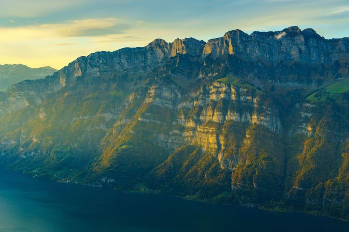 Mountain Nature Beauty In Nature Scenics Tranquility Tranquil Scene Mountain Range Sky No People Outdoors Day Landscape Sunset Sunrays Evening Light Flumserberg Switzerland SONY A7ii