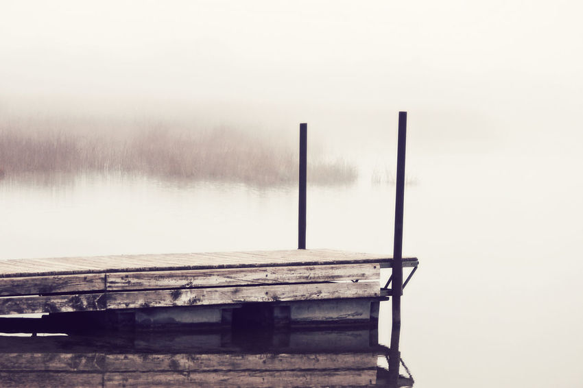 Fall on the water Autumn Calm Water Contemplation Foggy Lake Foggy Landscape Lake Landcape Mist Outdoors Pier Scenics Tranquility Wisconsin