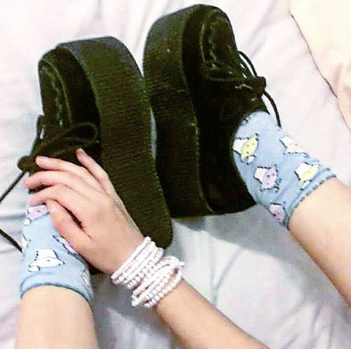 my friend did a swap with me and I got these awesome triple platform creepers :D Platforms Platform Shoes Cutesocks Bracelets Newshoes Alternative Creepers Shoes