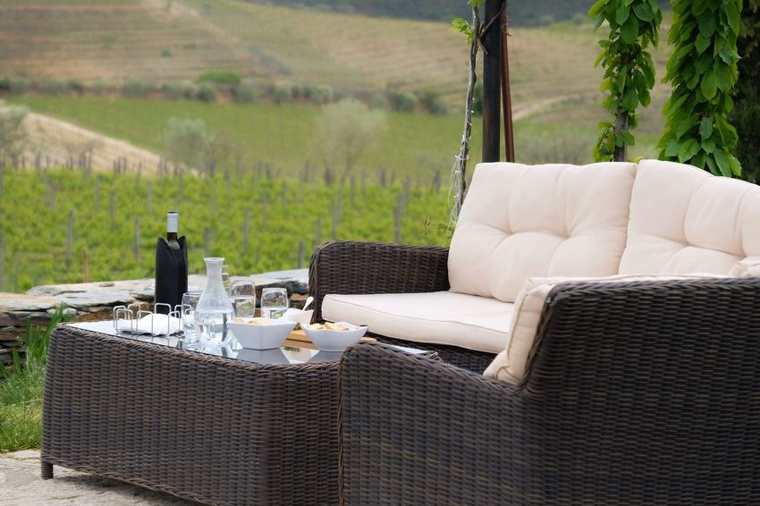 Wine break at the vineyard Glass Wine Vinyard Food And Drink Furniture Table Drink Nature Landscape Plant Rural Scene Refreshment No People Food Sofa Pillow Relaxation Alcohol Chair Container Bottle Wine Seat