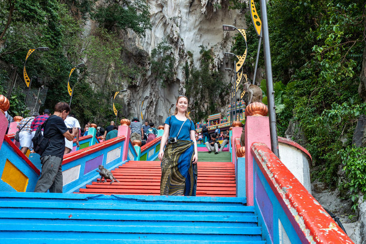 Kuala Lumpur Tree Plant Staircase Young Adult Day Men Happiness Nature Leisure Activity Adult Architecture Emotion People Real People Group Of People Front View Women Smiling Males  Outdoors Batucaves