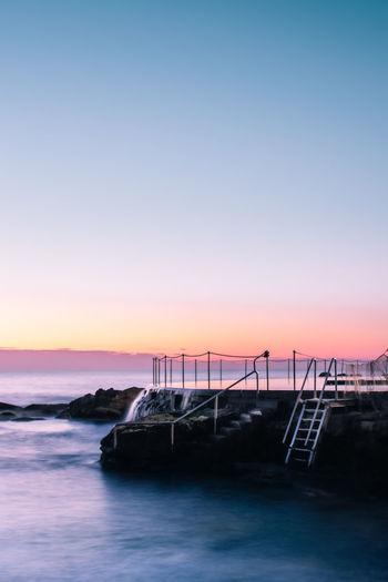 Morning sunrise at bronte baths in sydney, australia.