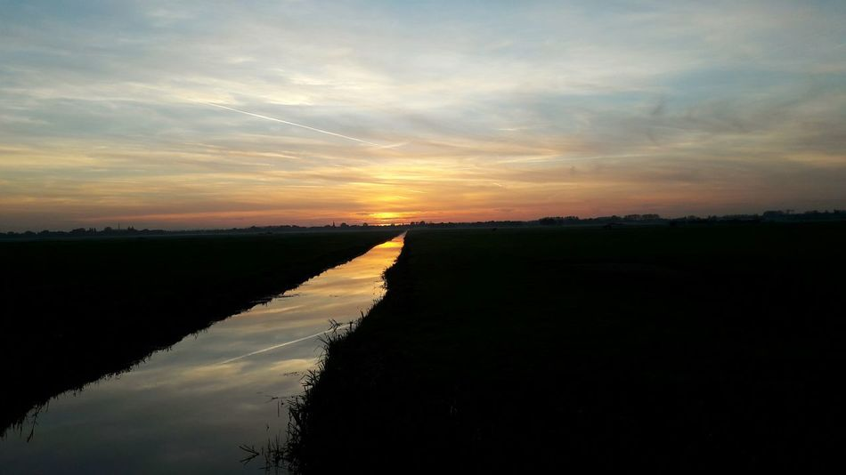 Reflection Sunset Beauty In Nature Water Water Reflections Waterscape Nature Outdoors Sky Sun Dutch Landscape Dutch Dutch Skies Dutch Nature Dutch Countryside Dutch Dreamscapes