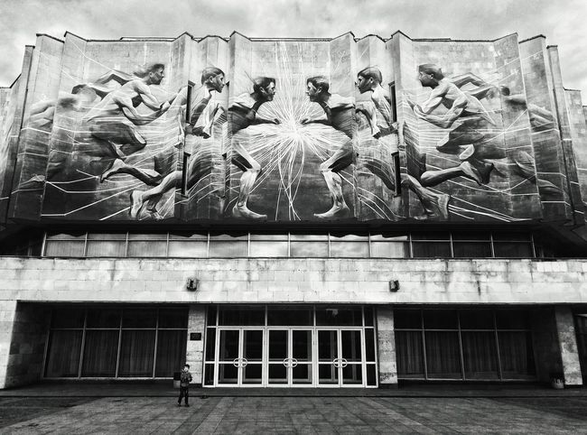 Ghosts of the Soviets. Ambience Soviet Architecture Soviet Ghost In The Shadows Street Photography Graffiti Wall Graffiti & Streetart Art Object City Life Cityscape Kievblog Ukraine Black And White Photography Walk The Streets EyeEm Best Shots EyeEm Best Shots - Black + White Little People Big World TakeoverContrast EyeEm Street Photography Awards 2017