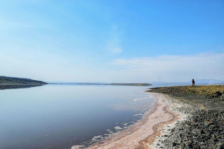 Colorful algae at the shores of lake magadi, rift valley, kenya