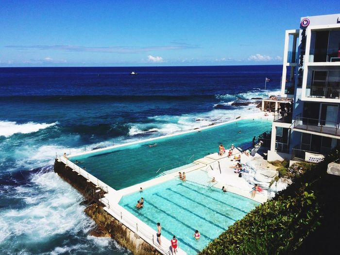 EyeEmReady EyeEmNewHere EyeEm Best Shots Travel Destinations Down Under Australia Sydney Poolside Pool Bondi Iceberg Bondi Beach Sea Horizon Over Water Water High Angle View Beauty In Nature Nature Nautical Vessel Beach Clear Sky Outdoors Sky Wave