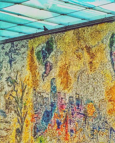 """Marc Chagall's """"The Four Seasons"""" mosaic artwork Chicago Chicagoloop Chagall Marcchagall ArtWork Publicart Chicago Skyline Picture Pictureoftheday Art Artist Arts Culture And Entertainment Amateurphotography IPhone Eyemgallery Outside Urbanphotography EyeEm Eyeemchicago Eye4photography  Appreciate The Scenery Beauty Is In The Eye Of The Beholder EyeEm Best Shots Where I Am A Bird's Eye View"""