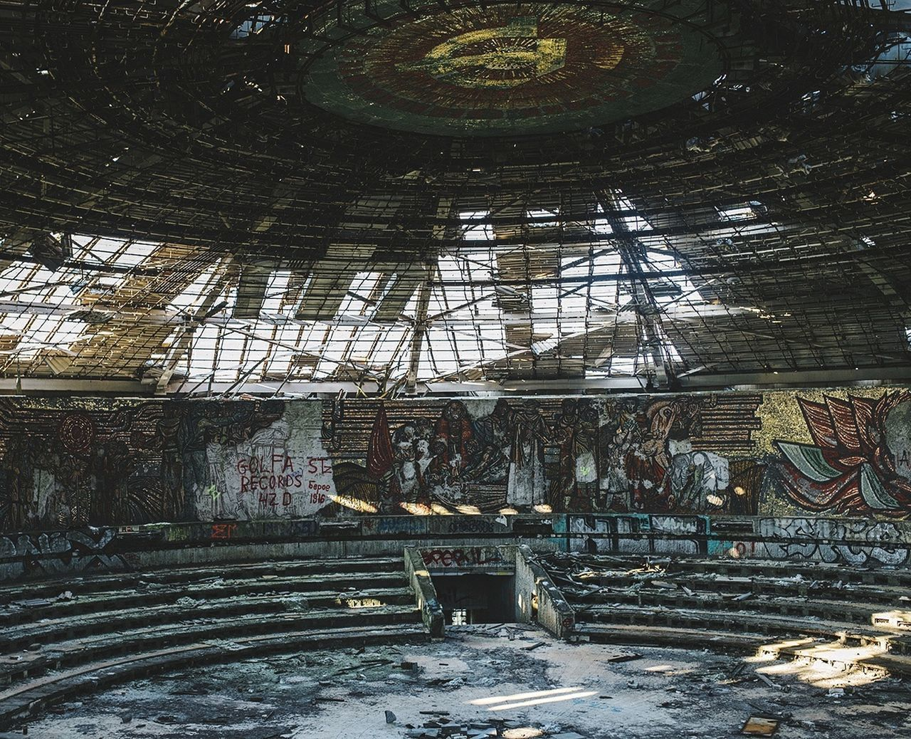 indoors, abandoned, architecture, low angle view, no people, built structure, day, factory