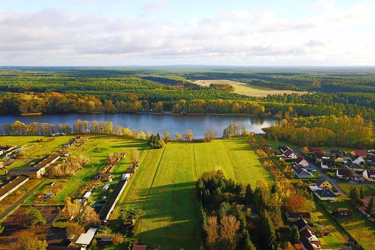Germany Brandenburg Grünheide Rehfelde Lake Landscape Cloud - Sky Sky Scenics Water Nature Outdoors Beauty In Nature Tranquility High Angle View Tranquil Scene Tree Field Green Color No People Day Agriculture Building Exterior Architecture