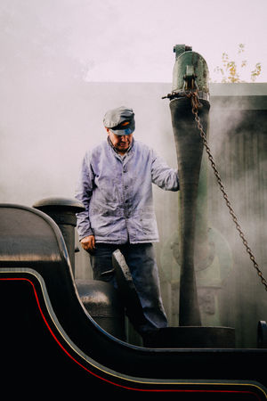 Bygones Occupation Occupations Old Fashioned Person Standing Steam Train Train