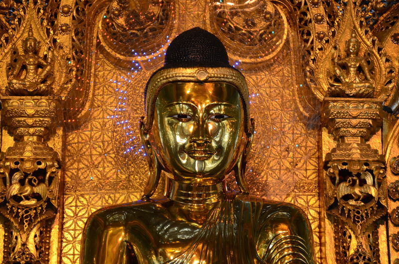 Close-up Gold Gold Colored Statue buddha image Face Of Buddha Image Buddha Image Burmese