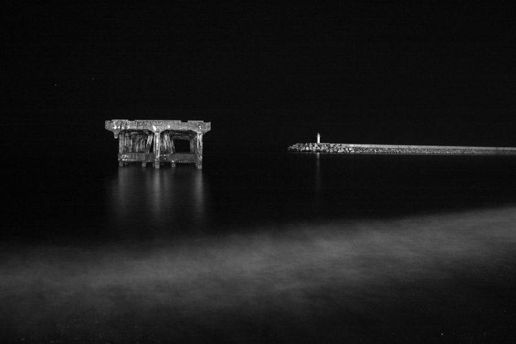 Exposure Long Exposure Sea Blackandwhite Architecture Built Structure Building Exterior Night No People Nature Travel