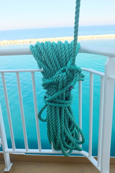 Green Green Color Boat Deck Day Nautical Vessel No People Outdoors Rope Sea Water