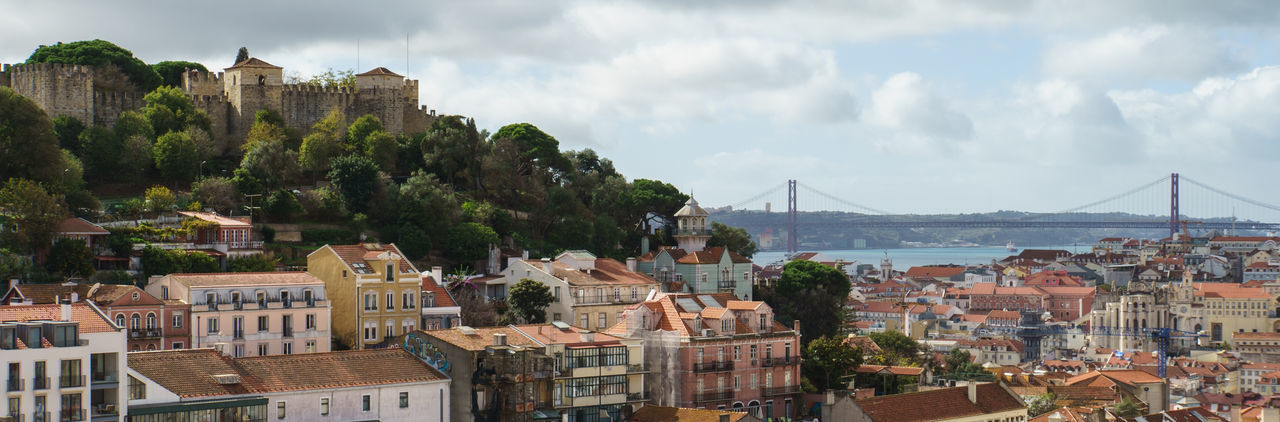 Panoramic view of lisbon city and castello de sao jorge
