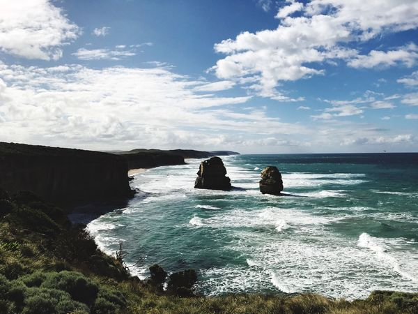 Sea Scenics Cloud - Sky Sky Water Nature Beauty In Nature Idyllic Beach Outdoors Horizon Over Water Travel Destinations Tranquility Day Landscape No People Vacations 12 Apostles
