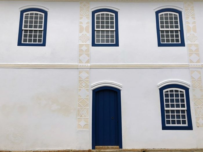 Missing One Paraty Rio De Janeiro Door Window Building Exterior Built Structure Architecture Building No People Day Wall - Building Feature Blue Full Frame